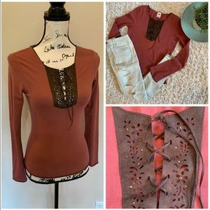 Lace Up Long Sleeve Top Tee Shirt Bling Blouse